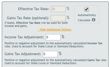 Automatic Tax Calculation Parameters